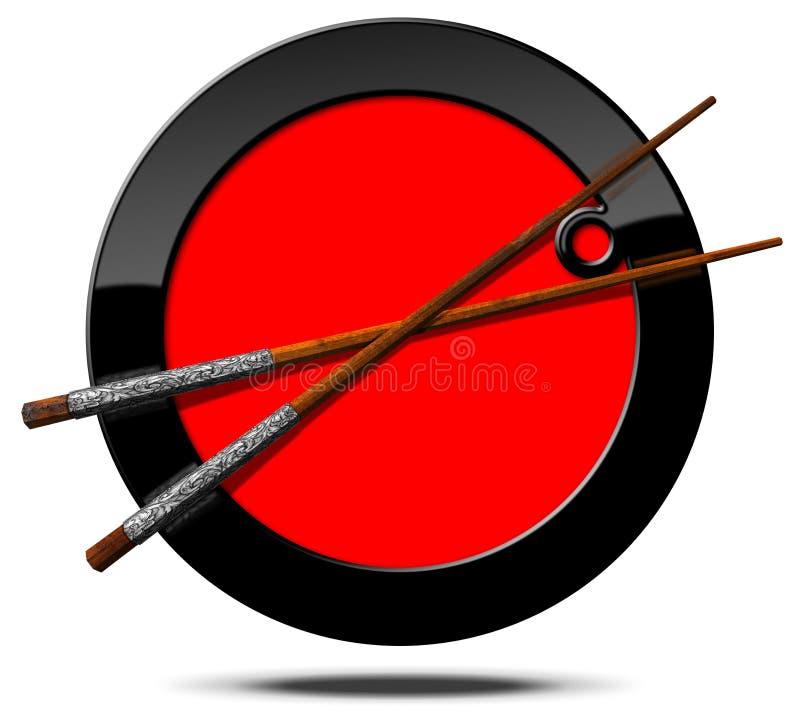 与木筷子的亚洲食物标志 向量例证