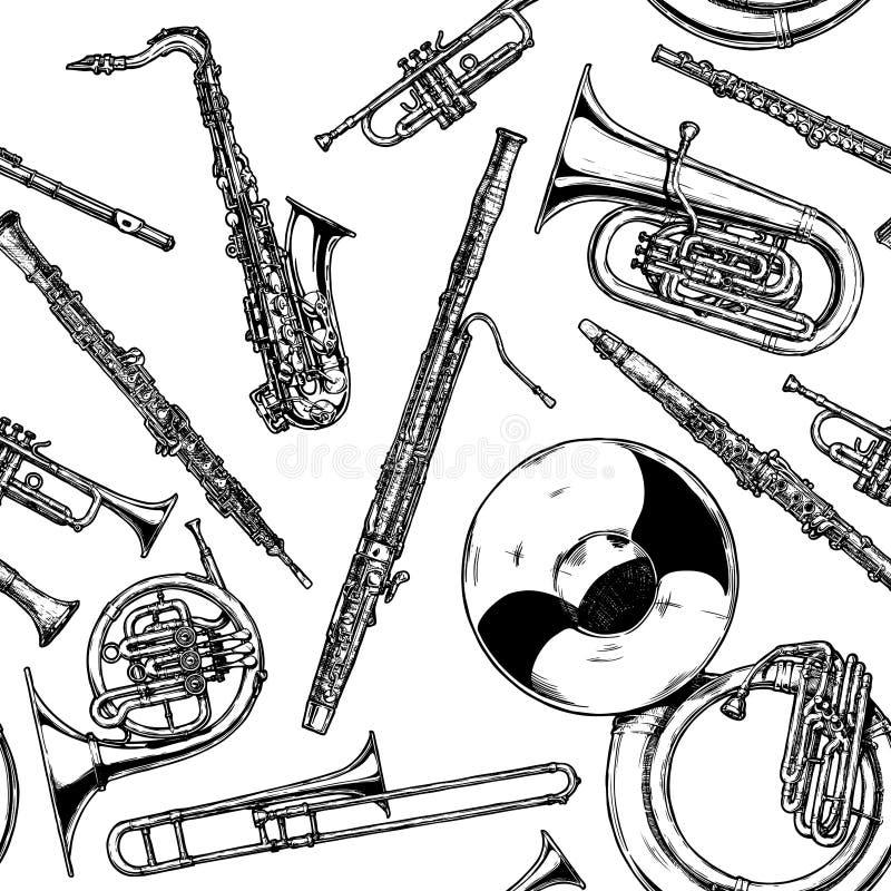 与木管乐器和黄铜乐器的无缝的样式 皇族释放例证
