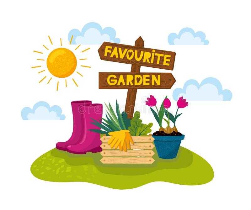 与木箭头的愉快的从事园艺的横幅与在领域的室内植物 向量例证