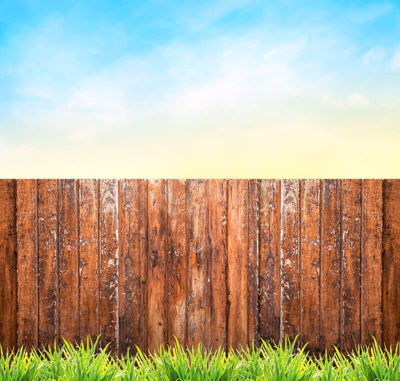 与木篱芭、草和蓝天的背景 库存图片