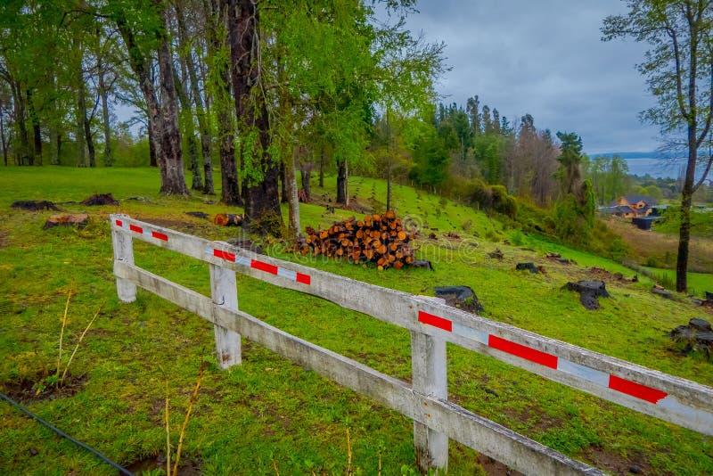与木篱芭的木柴堆室外看法在Pucon在智利 库存照片