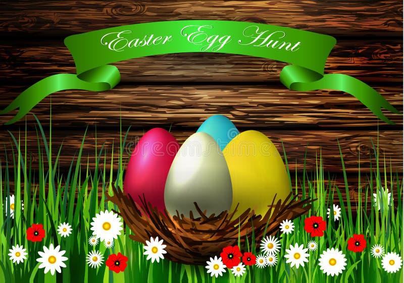 与木纹理的复活节彩蛋巢 向量例证