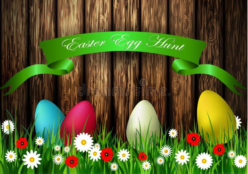 与木纹理的复活节彩蛋狩猎 向量例证
