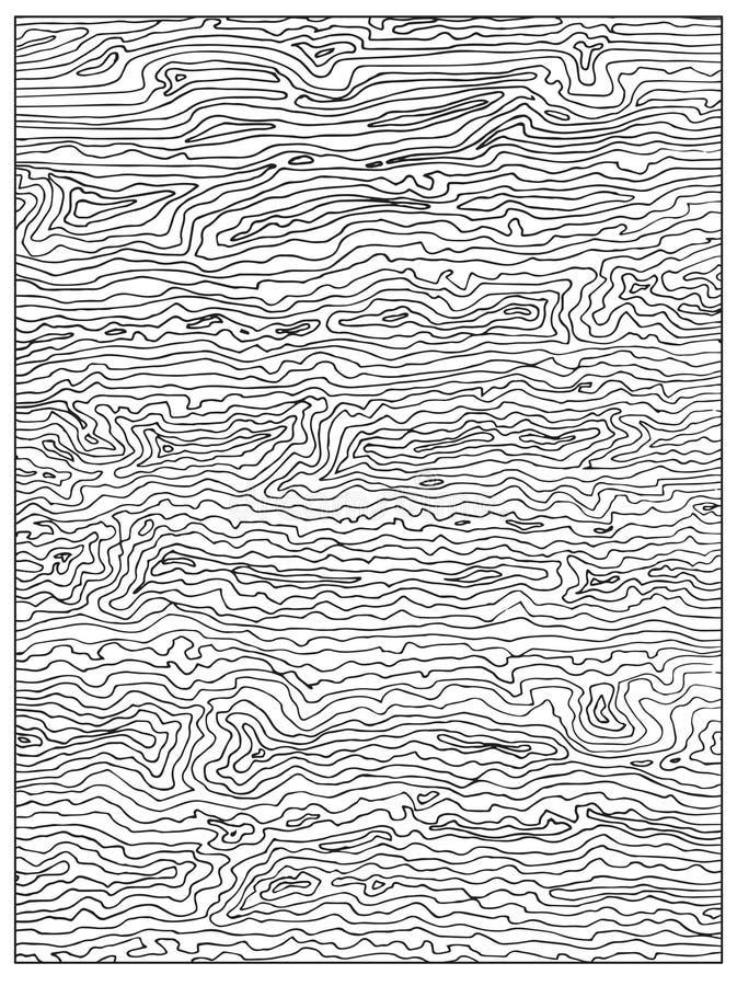 与木纹理的手拉的本色的抽象成人彩图页 库存例证