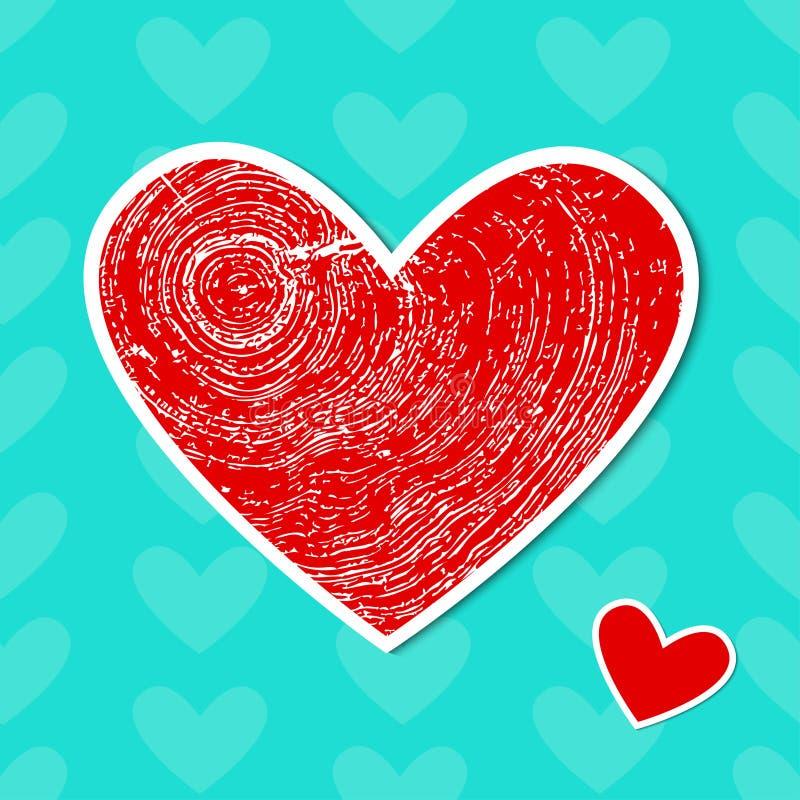 与木纹理的红色心脏 库存例证
