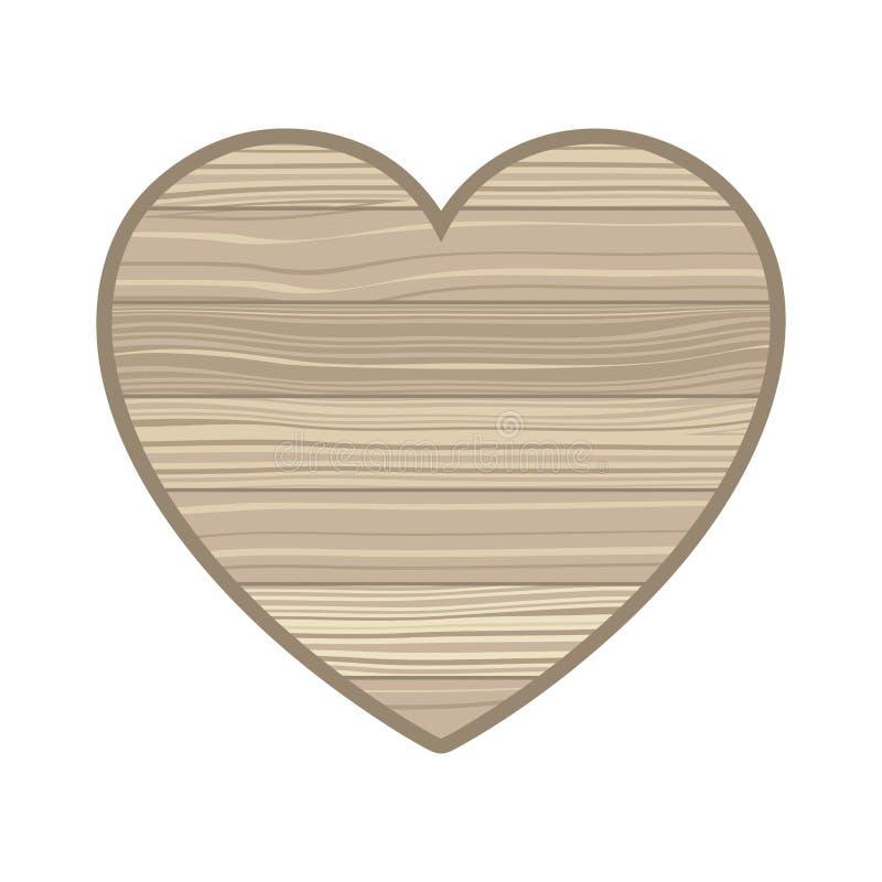 与木纹理被隔绝的象的心脏 向量例证