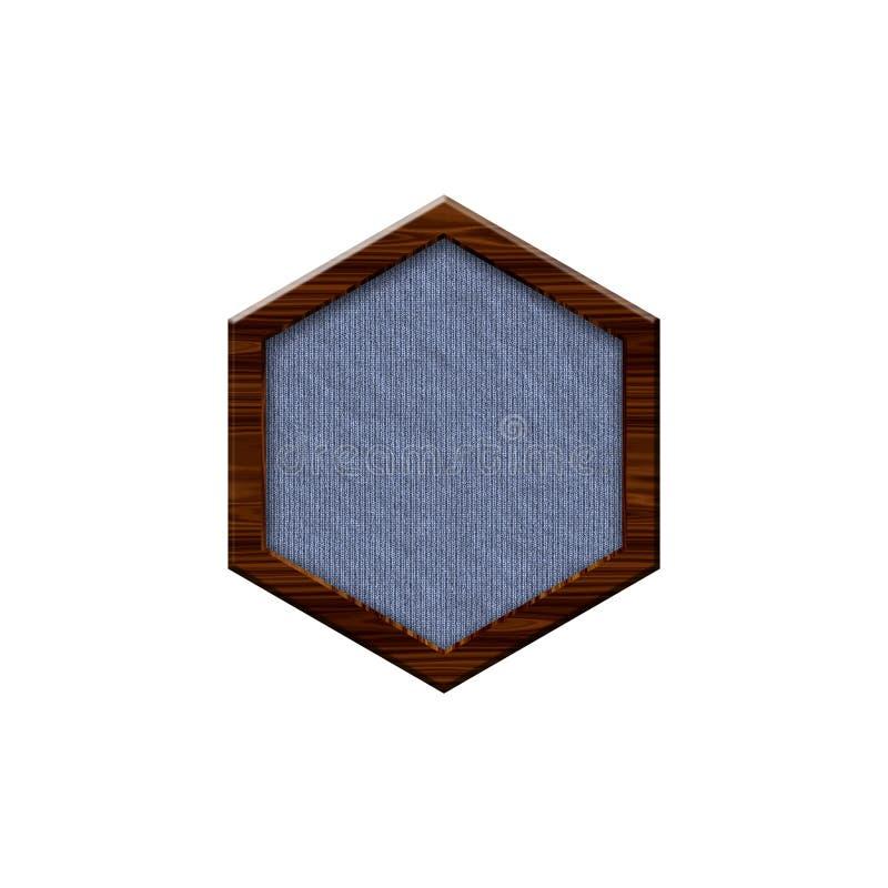 与木边界的布料徽章以六角形的形式 向量例证