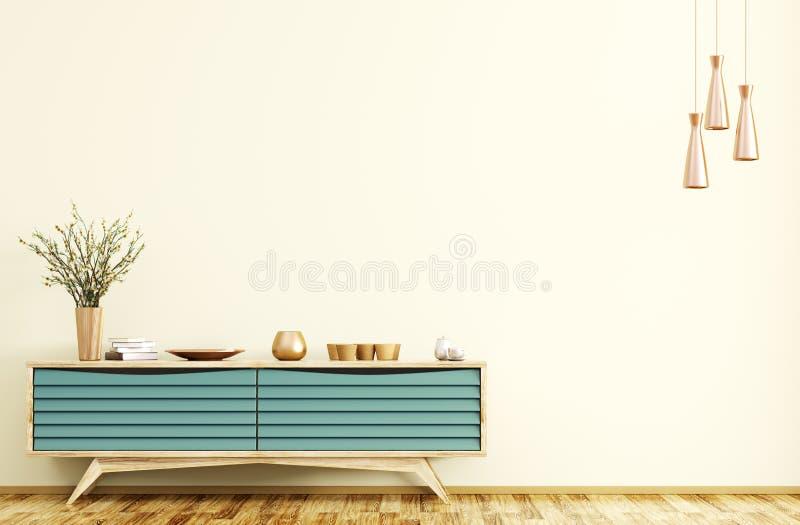 与木餐具柜3d翻译的现代内部 皇族释放例证