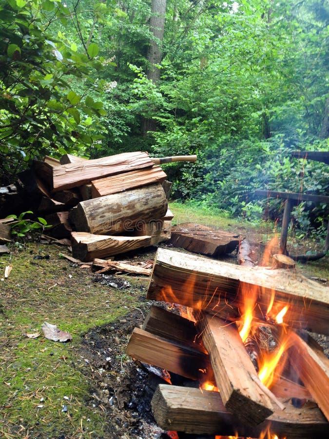 与木头的营火 免版税库存照片