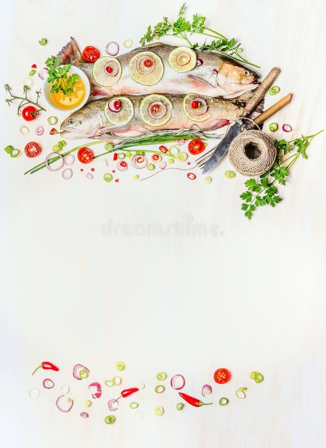 与未加工的整个鱼、新鲜的可口烹调成份和利器的饵料背景在白色木,顶视图,框架 库存照片
