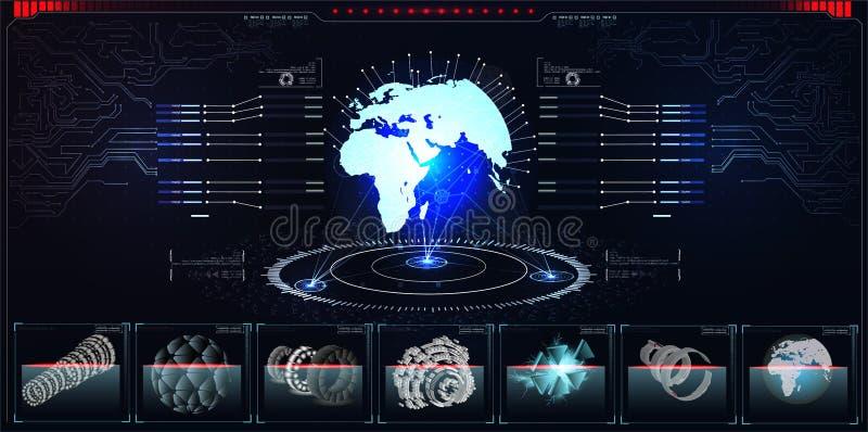 与未来派hud设计元素的行星全息图与酒吧和圆形图 Infographic或技术接口对于信息 皇族释放例证