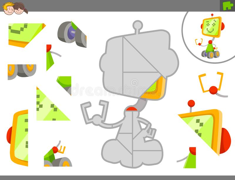 与机器人或droid的拼图比赛 向量例证
