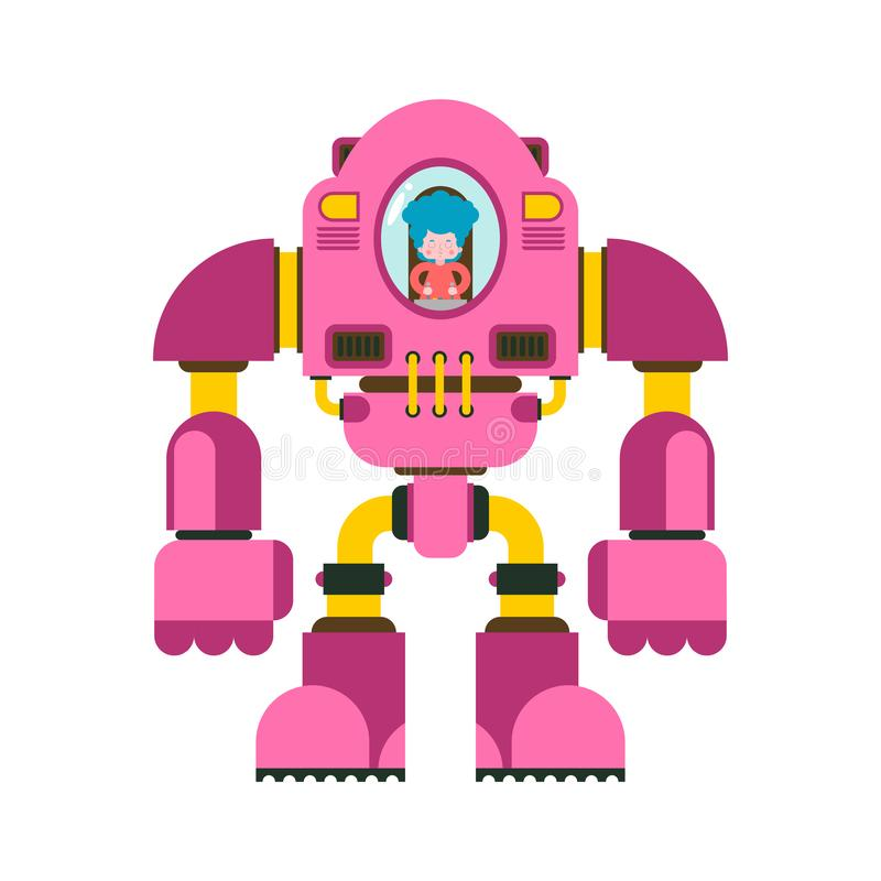 与机器人战斗的孩子 女孩外骨骼 机械技术机器人骨骼 铁衣服机器人 金属衣物 库存例证