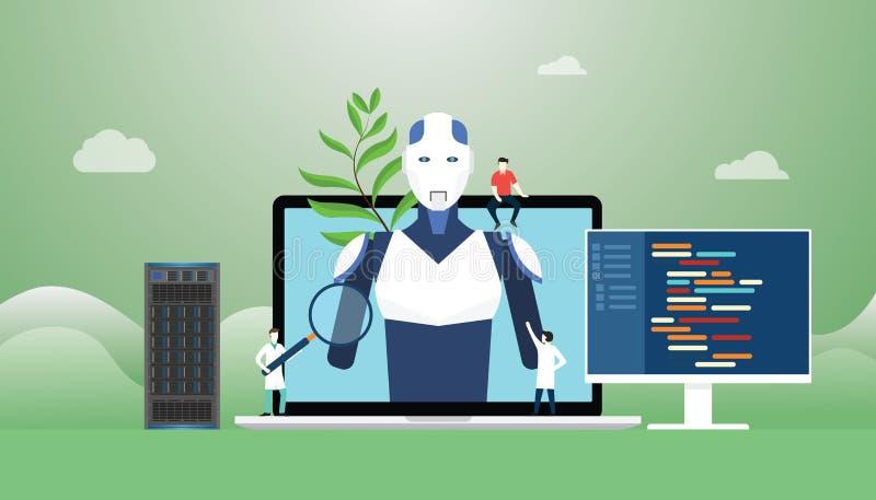 与机器人的人工智能ai概念和有编程语言的技术开发建筑与现代舱内甲板 皇族释放例证