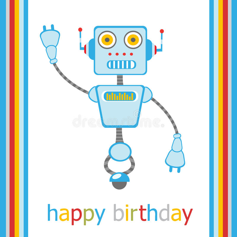 与机器人的生日快乐看板卡 库存例证