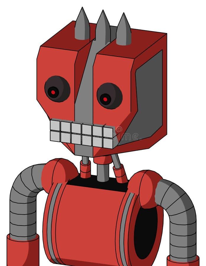 与机械头和键盘嘴和红眼睛的蕃茄红色上涨的Droid和三 皇族释放例证