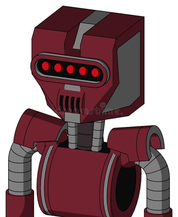 与机械头的红色Droid和报告人装腔作势地说和遮阳眼睛 库存例证