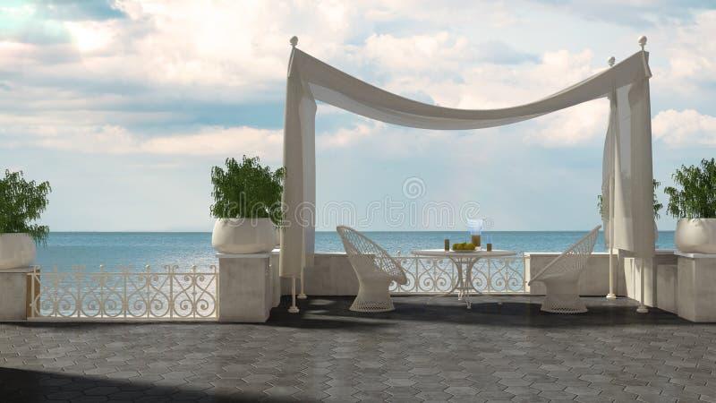 与机盖的空的经典大阳台放松区域、扶手椅子和tabl 向量例证