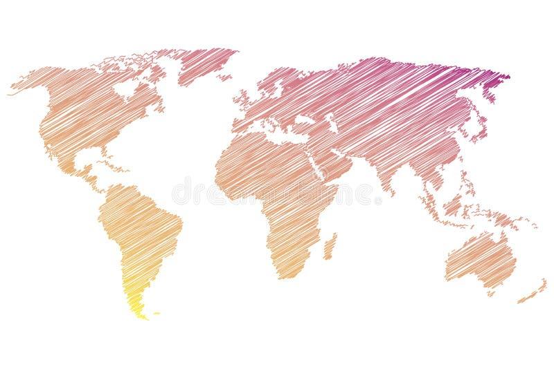 与杂文的五颜六色的世界地图在白色背景 也corel凹道例证向量 向量例证