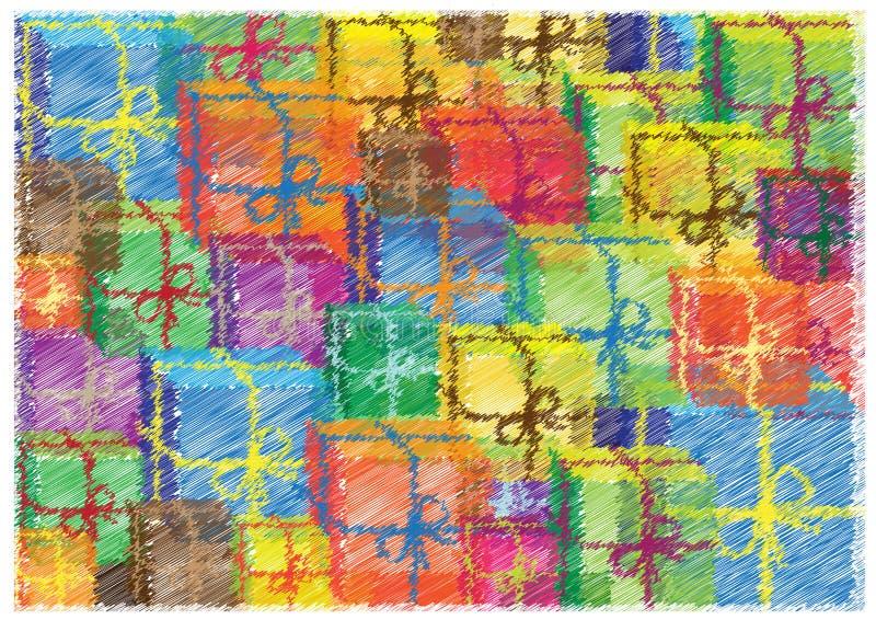 与杂文礼物的五颜六色的明亮的背景 皇族释放例证