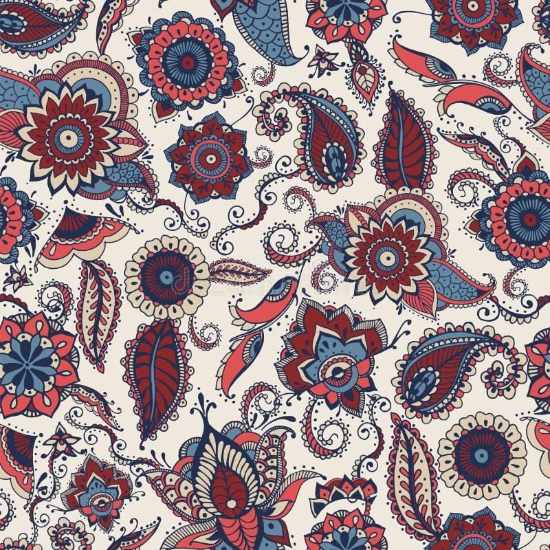 与杂色的种族印地安或土耳其主题的佩兹利无缝的样式在白色背景 与花卉mehndi的背景 向量例证