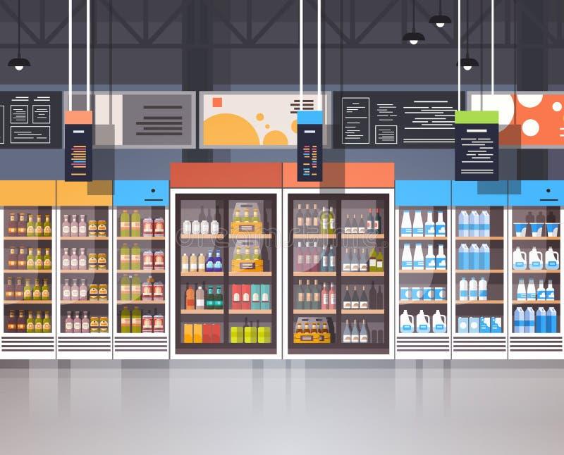 与杂货食物的分类的超级市场内部零售店在架子的 库存例证