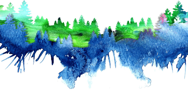 与杉木和冷杉trees4的水彩风景 皇族释放例证