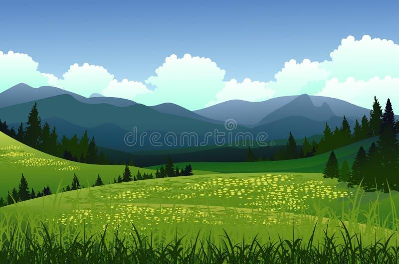 与杉木森林和山背景的秀丽风景 库存例证