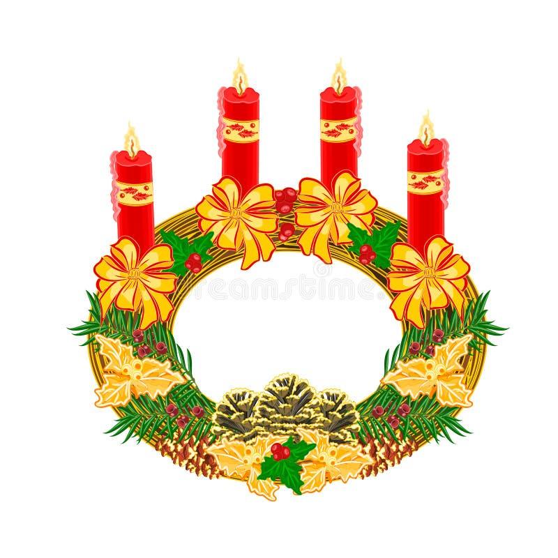 与杉木锥体传染媒介的圣诞节装饰圆出现花圈 向量例证