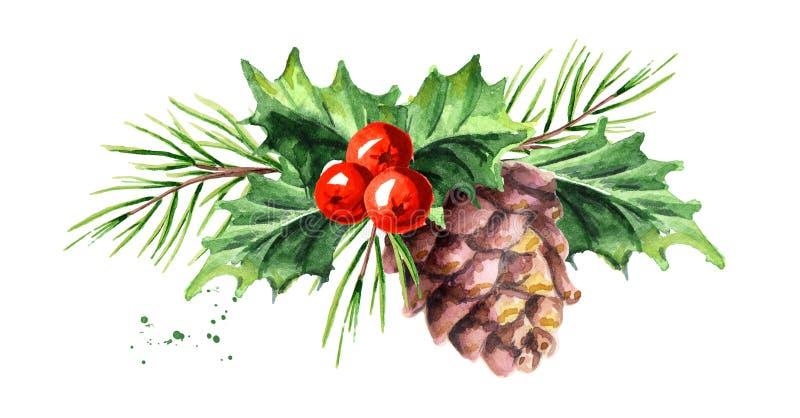 与杉木锥体和分支构成的圣诞节和新年标志装饰霍莉莓果 水彩手拉的例证,是 库存例证