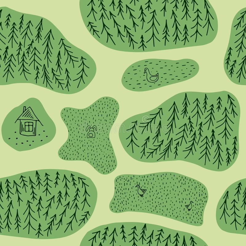 与杉树森林、鸭子、野兔和木屋的无缝的样式 平的样式重复背景 皇族释放例证