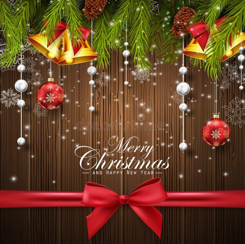 与杉树的圣诞节木背景、红色和白色球、金响铃和红色弓 皇族释放例证