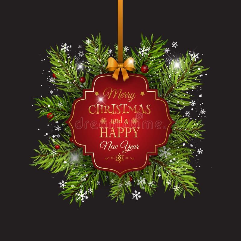 与杉树的圣诞节背景分支和装饰标签 库存例证