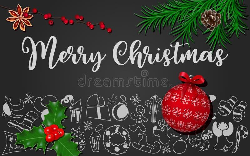 与杉树,锥体,霍莉莓果,八角,在黑黑板的红色华丽圣诞节球的圣诞装饰 库存例证