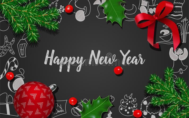与杉树,霍莉莓果,红色弓,在黑黑板的圣诞节红色球的圣诞节和新年装饰 皇族释放例证