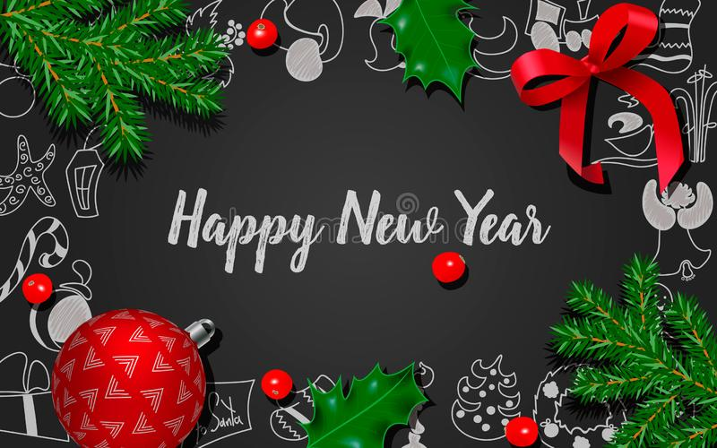 与杉树,霍莉莓果,红色弓,在黑黑板的圣诞节红色球的圣诞节和新年装饰 库存例证