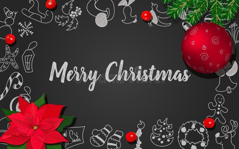 与杉树,霍莉莓果,Poincettia,在黑黑板的圣诞节红色球的圣诞装饰 皇族释放例证