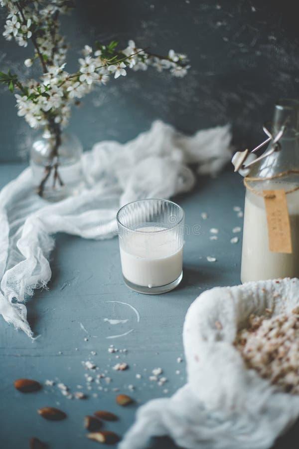 与杏仁黏浆状物质的素食主义者不含乳制品的杏仁牛奶在木背景 库存图片