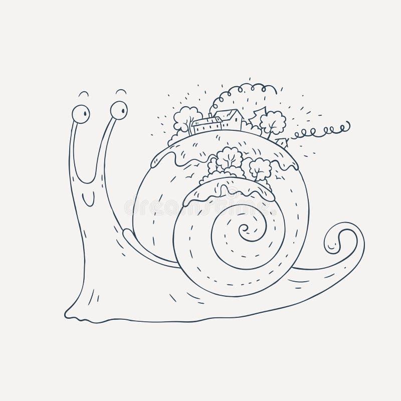 与村庄和森林的微笑的蜗牛壳的 向量例证