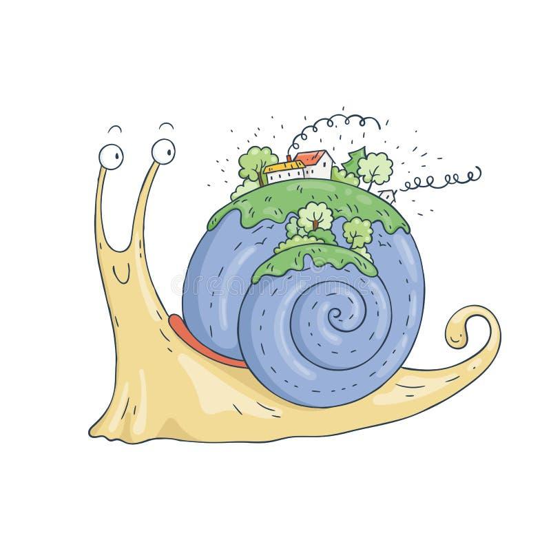 与村庄和森林的微笑的蜗牛壳的 皇族释放例证