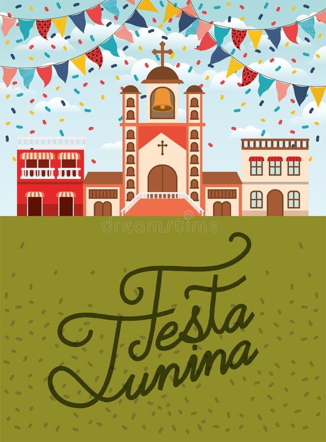 与村庄场面和诗歌选的费斯塔junina 皇族释放例证