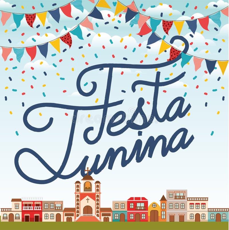 与村庄场面和诗歌选的费斯塔junina 向量例证