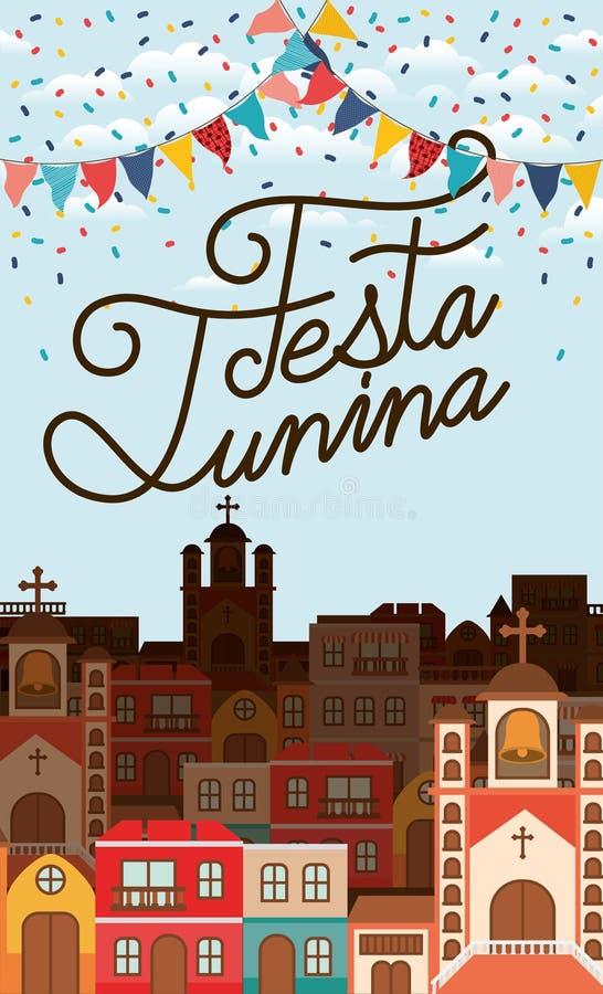 与村庄场面和诗歌选的费斯塔junina 库存例证
