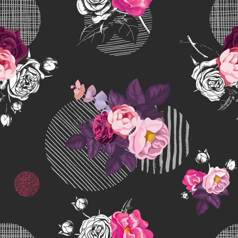 与束狂放的玫瑰色花和不同的纹理的灰色圆的元素的花卉无缝的样式在黑色的 库存例证
