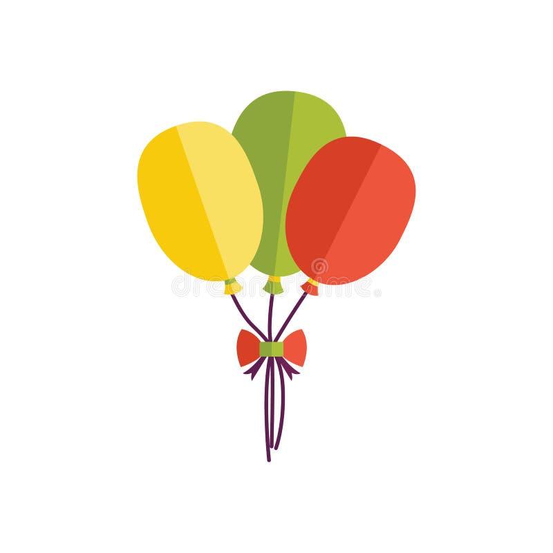 与束的平的象三个生日气球 向量例证