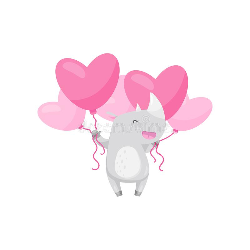 与束的快乐的小的犀牛桃红色心形的气球 动物滑稽通配 平的传染媒介设计 向量例证
