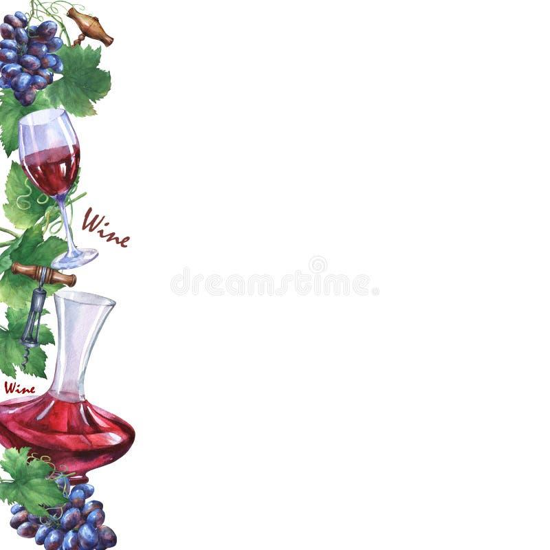 与束的模板新鲜的葡萄、拔塞螺旋、蒸馏瓶和杯红葡萄酒 皇族释放例证