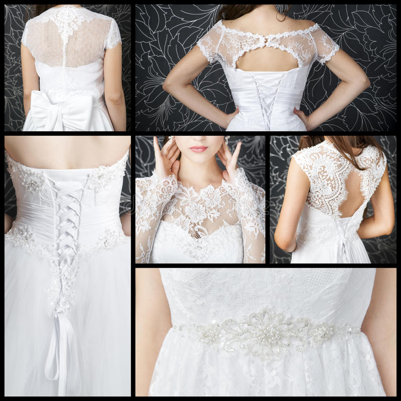 与束腰的豪华婚礼礼服 免版税库存照片