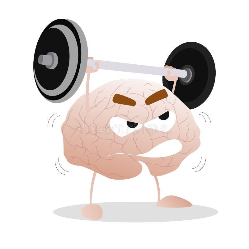 与杠铃的脑子训练 库存例证