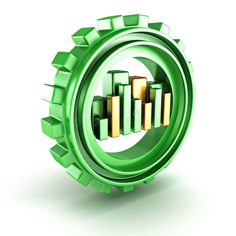 与条形图绘制的绿色齿轮图标 向量例证